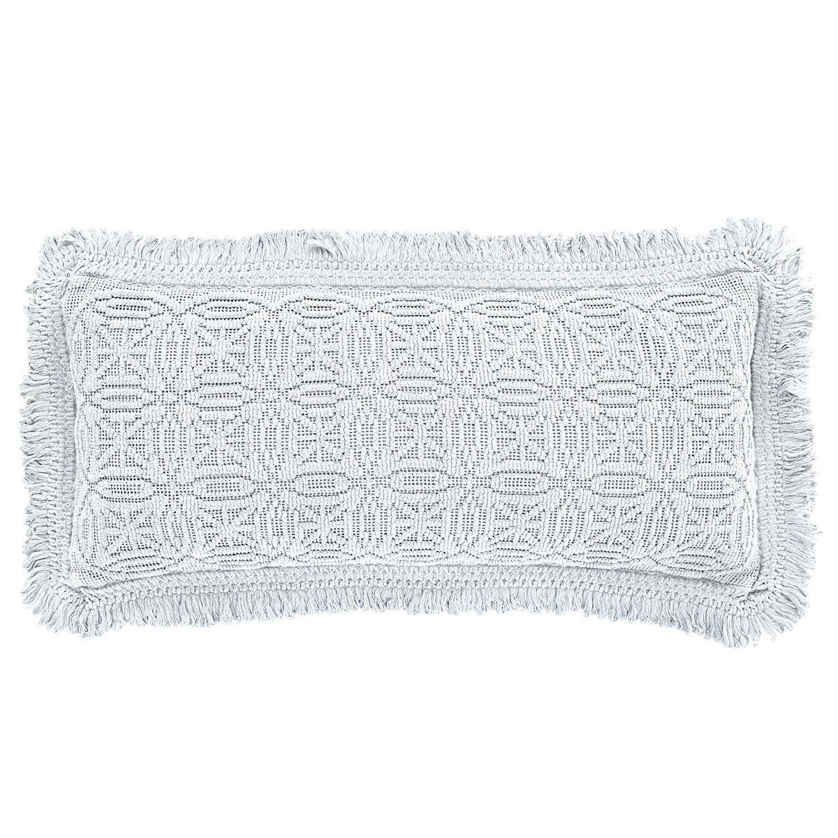 This cotton knit decorative pillow, featuring a modern medallion pattern, is made all the more elegant with subtle, soft fringed ends.