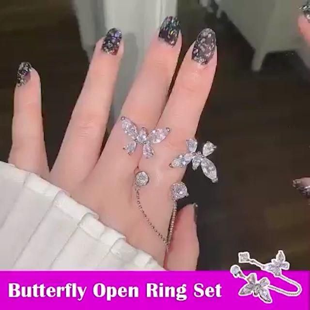 Adjustable Butterfly Open Ring Set