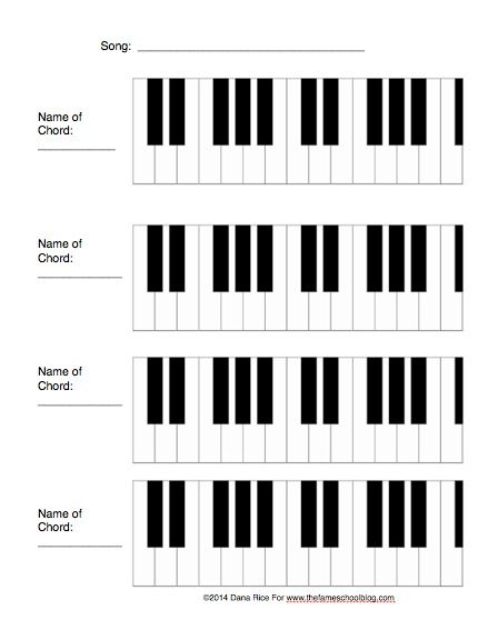 Free Printable For Teaching 3 And 4 Chord Songs Shade In The