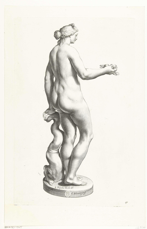 Cornelis Bloemaert (II)   Venus met fruit in haar handen, Cornelis Bloemaert (II), ca. 1636   Beeld van Venus, de godin van de liefde, naakt, op de rug gezien. In haar rechterhand houdt ze vruchten en bladeren. Het beeld is afkomstig uit de collectie van Vincenzo Giustiniani, wiens wapen op de sokkel te zien is.
