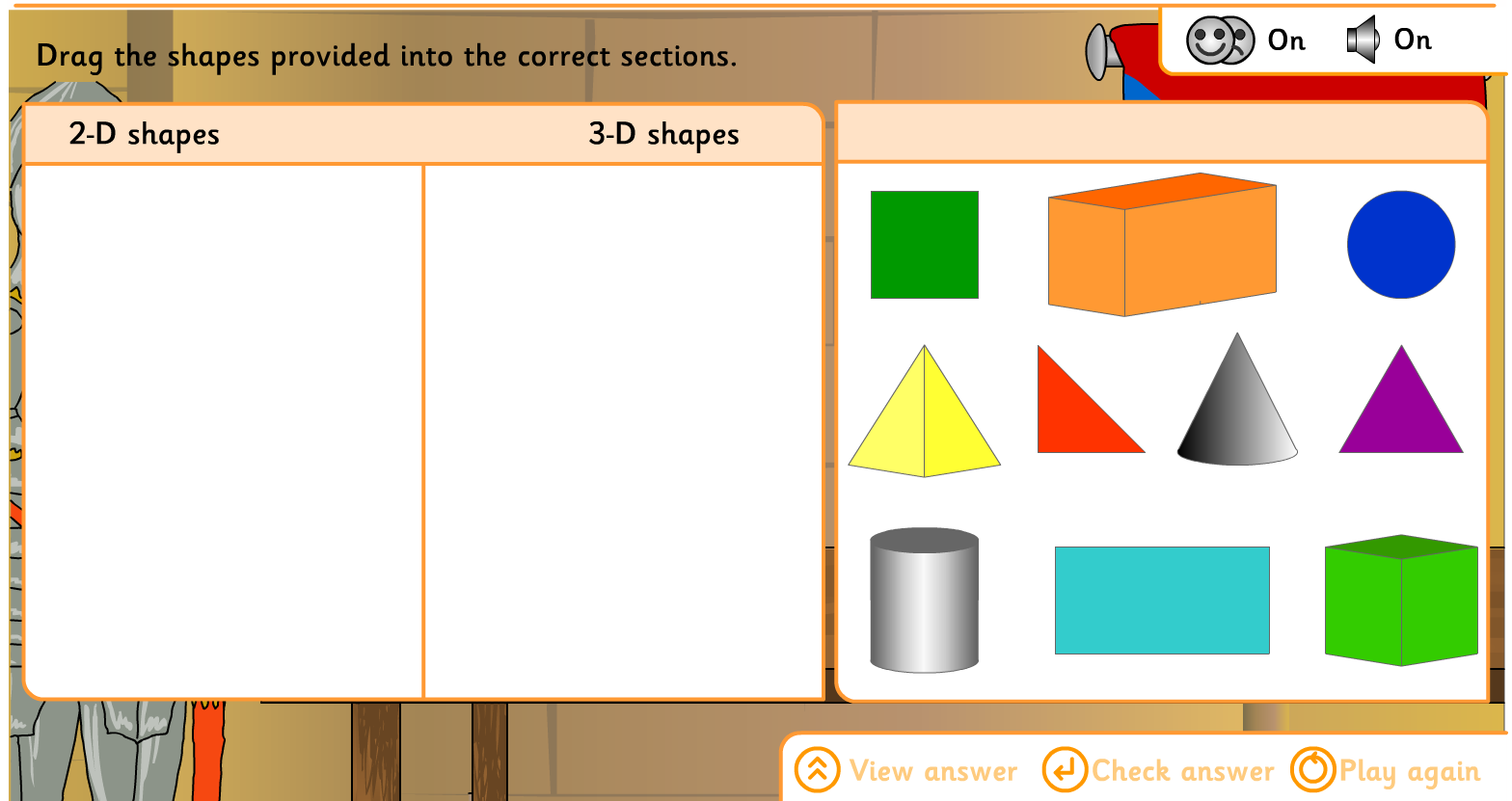 Interactive 2d And 3d Shapes Sort