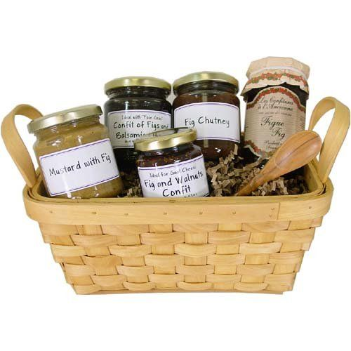 Figgy Figs - Fig themed European gift basket French imports, Add a jar of Fig Jam (bestseller)