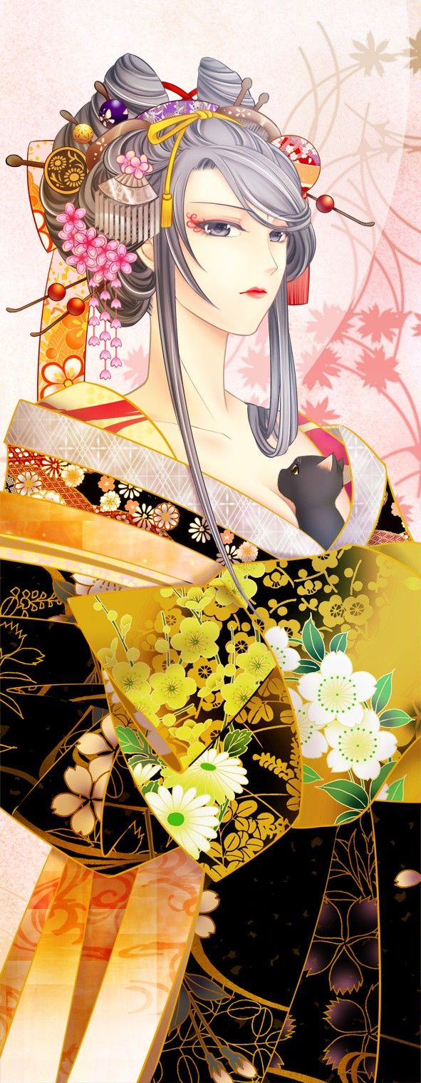 Chrysanthemum Blossoms Traditional Kimono Manga Illustration ACEO Print Beautiful Japanese Bishounen Asian Tatami Art Print