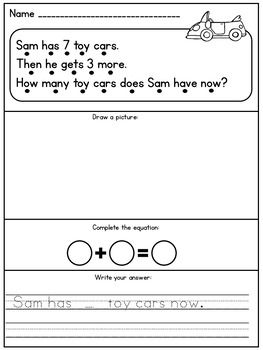 Addition and Subtraction Kindergarten Story Problems | TpT Math ...