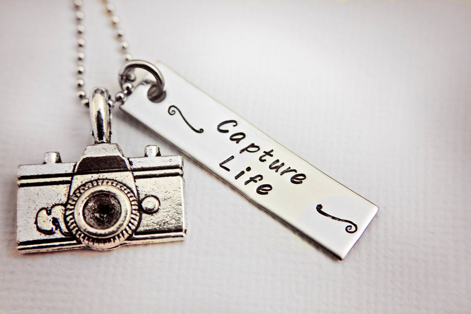 stainless steel hand stamped camera photographer necklace. Black Bedroom Furniture Sets. Home Design Ideas