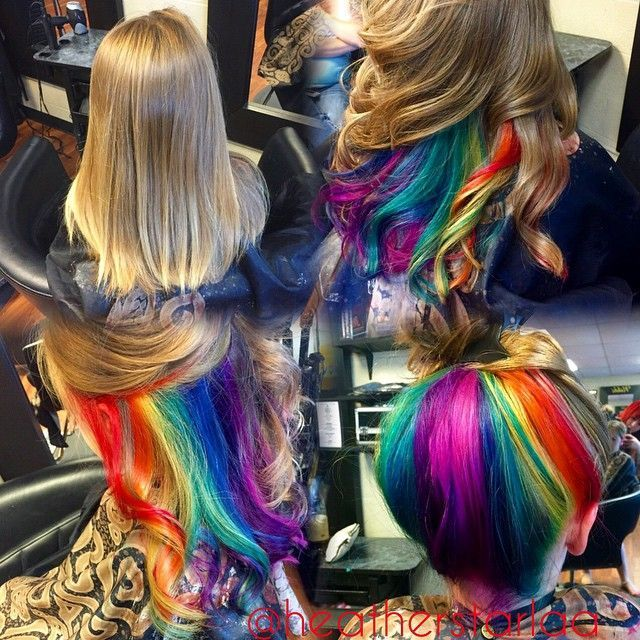 blonde hair with rainbow