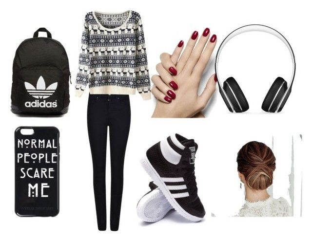 """""""School Drama"""" by niallbaeforlife ❤ liked on Polyvore featuring Giorgio Armani, adidas, adidas Originals and Beats by Dr. Dre"""