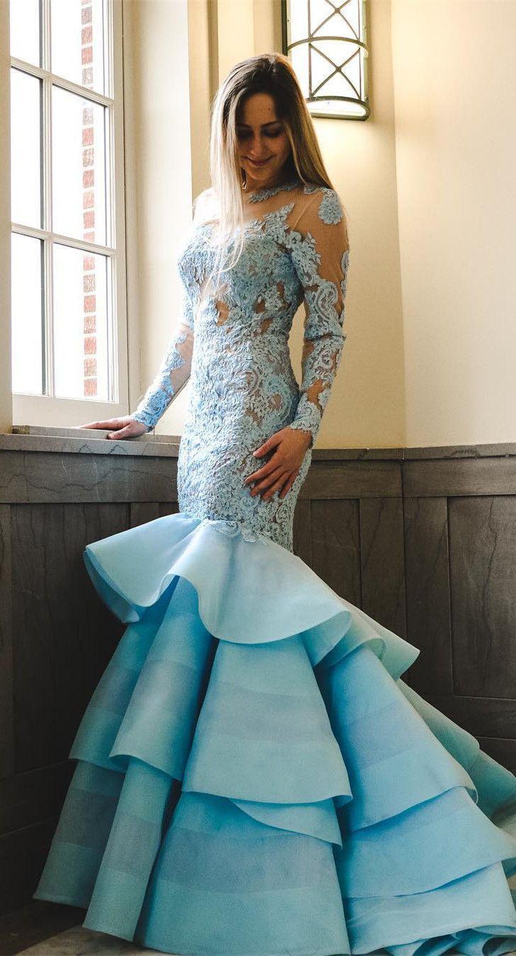 Mermaid prom dress long sleeves prom dress blue prom dress