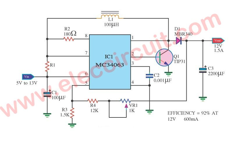 12v stable battery voltage regulator circuit using mc34063it is control volttage regulator output 12v 1 5a , input voltage battery 5v 13v only use ic mc34063 so easy circuit, adjustable vr1 for control efficiency