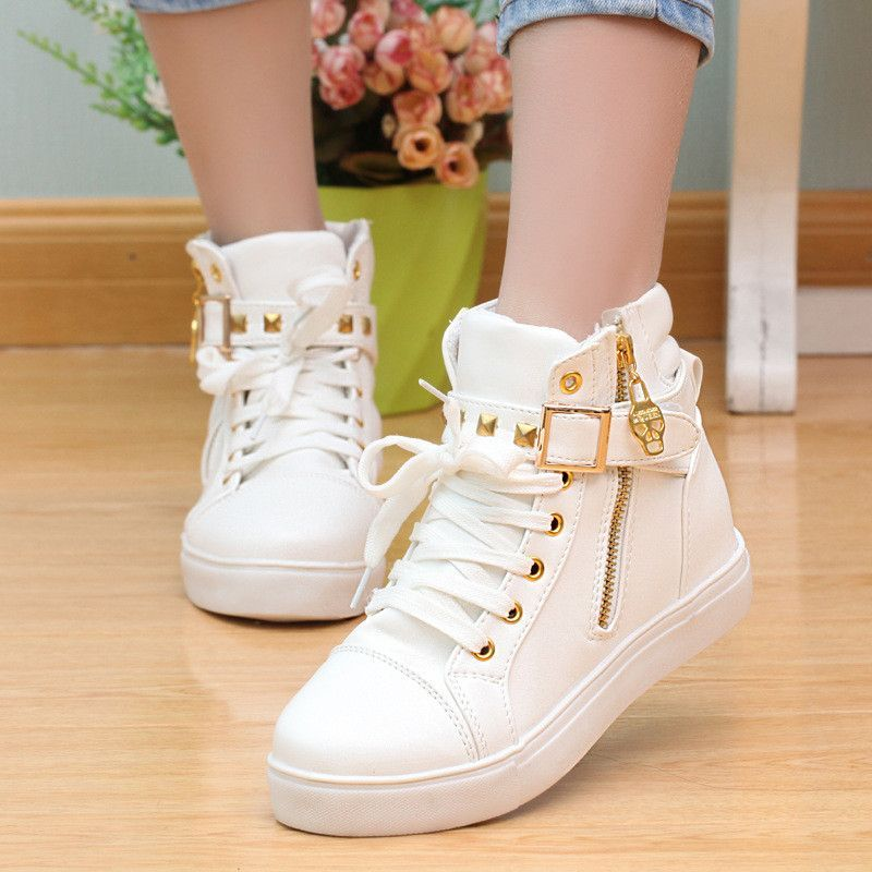 Y40JEYA3 Women White Womens Mesh Side Zippers Chunky Breathable High Top Concealed Wedge Trainers Economy