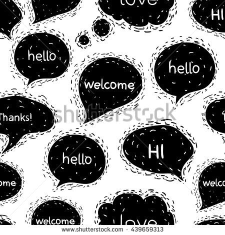 Seamless pattern with speech bubbles.Greetings.Words: hello, Welcome, hi, Thanks, love. Vector illustration welcome background. Conversation image isolated on a white background. - stock vector