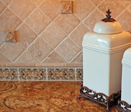 Accent Below Backsplash Travertine Tile Ideas Kitchen