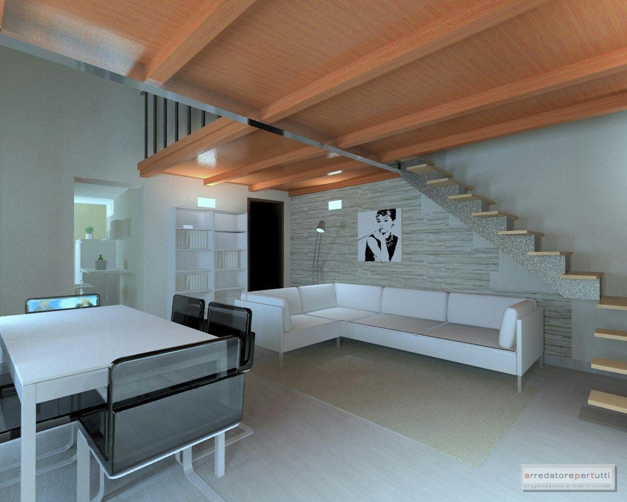 Angolo Tv Moderno soggiorno moderno, divano ad angolo, soppalco in legno