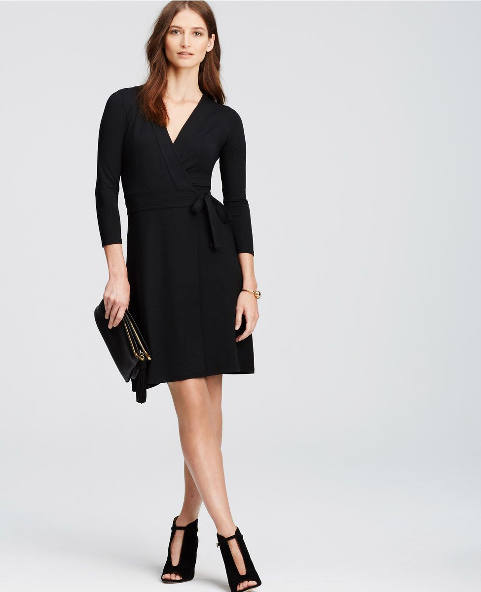 ann taylor 3/4 sleeve wrap dress in black | My (Non) Maternity ...