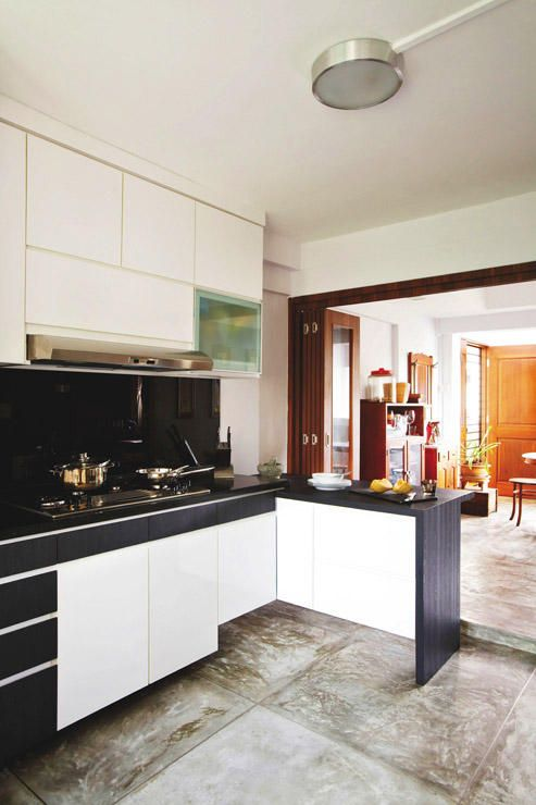 Hdb Maisonette With A Rustic Charm Rustic Charm Concrete And Kitchens