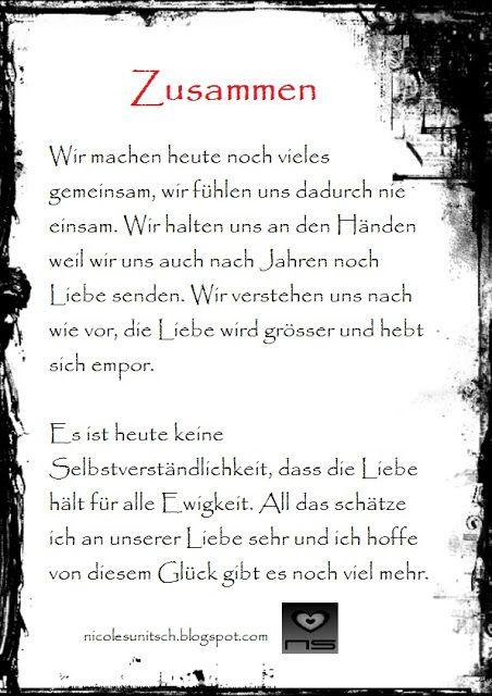 Zusammen Gedicht Von Nicole Sunitsch Gedichte Und Spruche Spruche Gluckliche Spruche