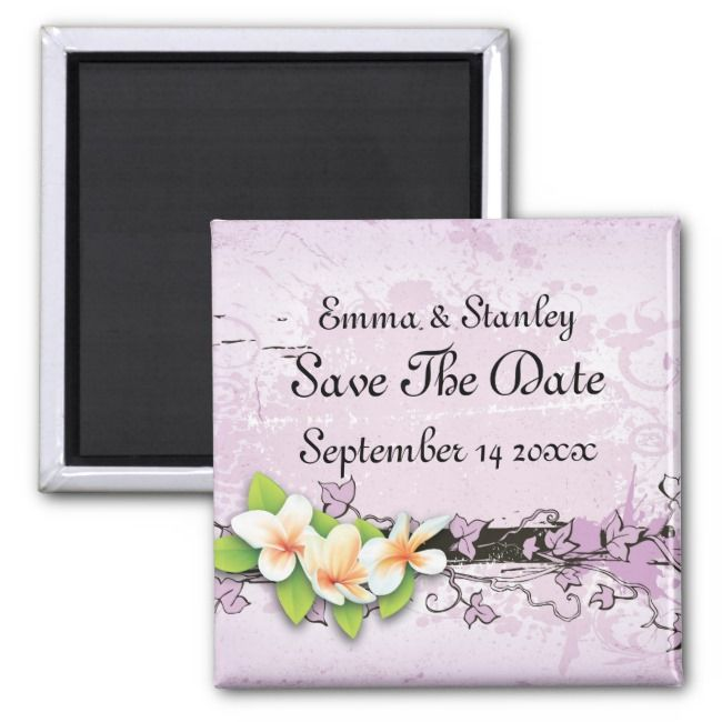 Vintage plumeria ivy purple white Save the Date Magnet