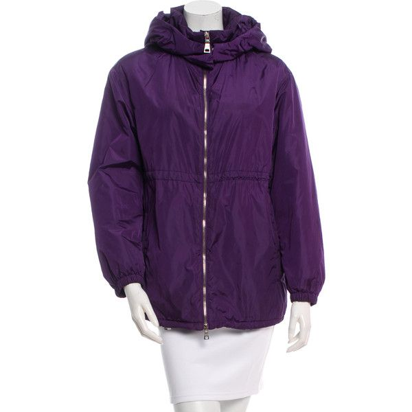 Pre-owned Prada Sport Hooded Lightweight Jacket (2 485 ZAR) ❤ liked on Polyvore featuring outerwear, jackets, purple, zip jacket, lightweight hooded jackets, lightweight zip jacket, drawstring jacket and lightweight jackets