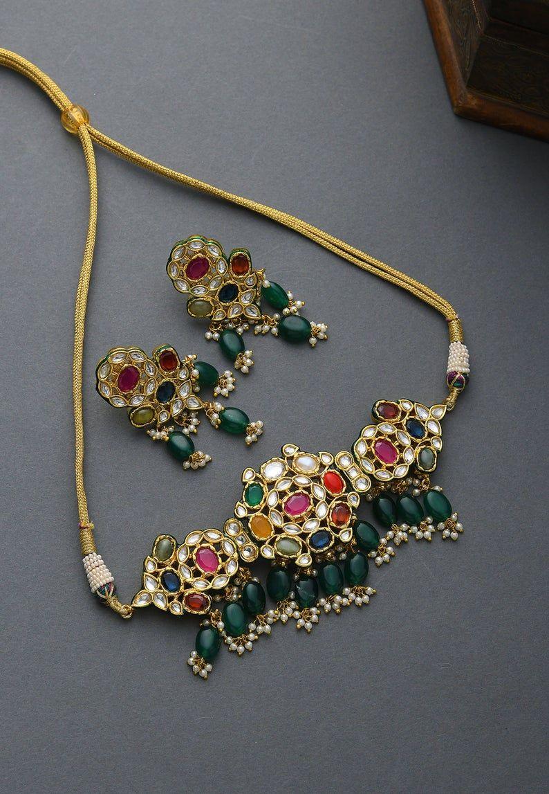Navrattan Kundan Inspired Necklace Set / Kundan Ne