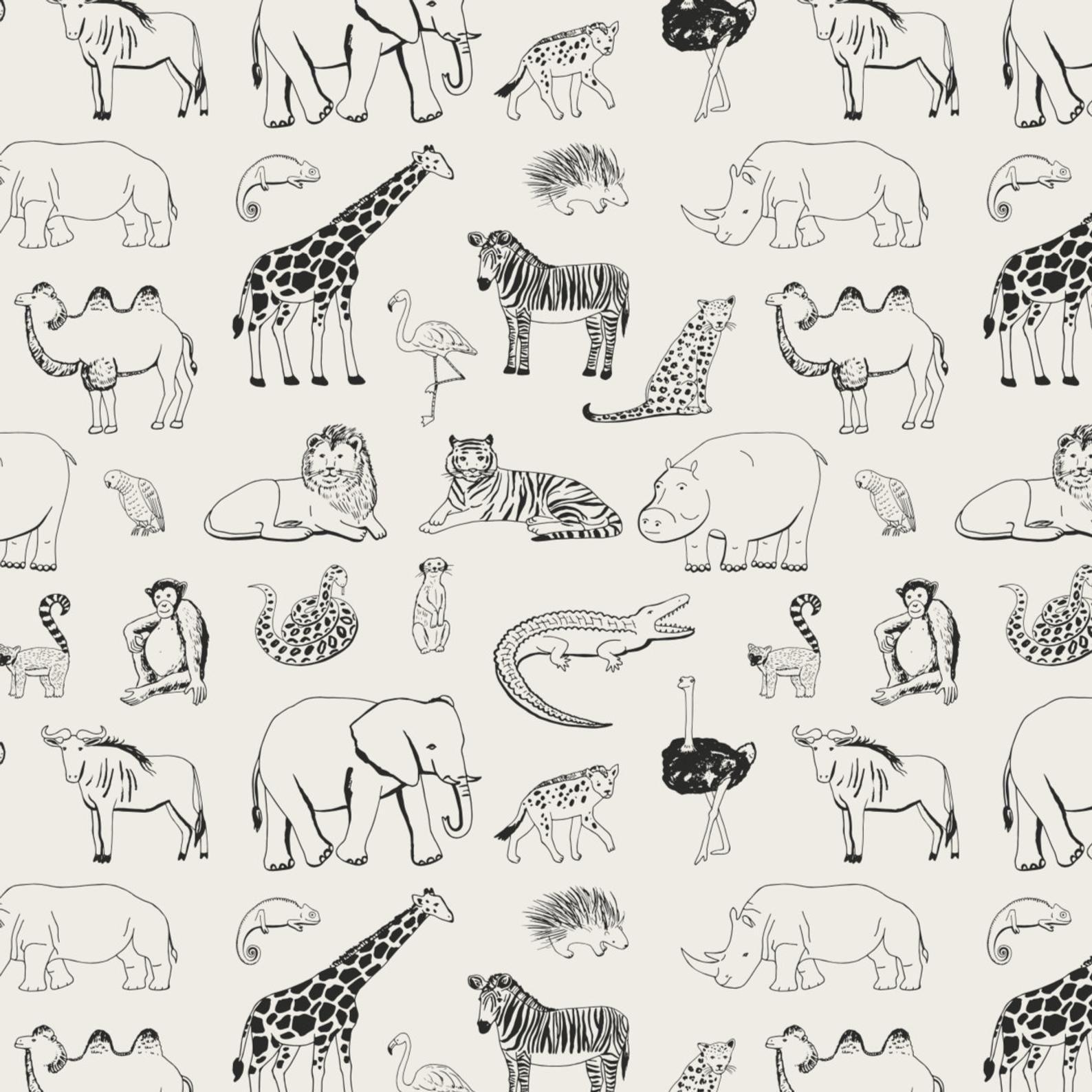 Safari Animal Removable Wallpaper
