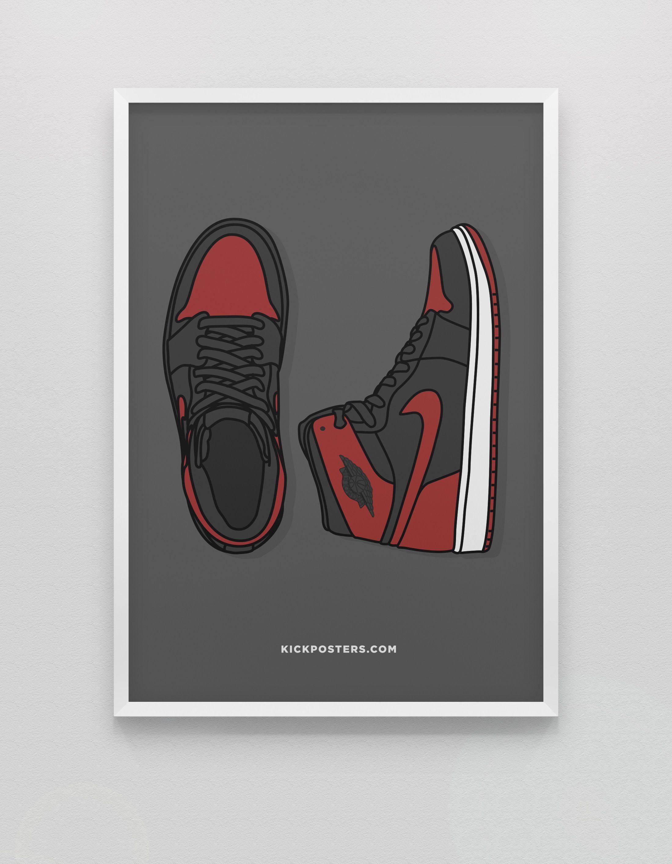 New Br Jordan 1 Bred Nike Art Sneaker Art Hypebeast Wallpaper