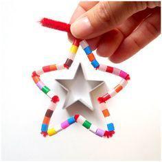 3x3 Sterne - mit Pfeifenputzer und Perlen