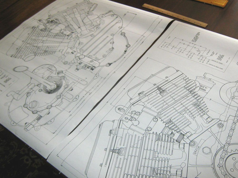 details about harley panhead technical drawing set engine blueprint  panhead engine diagram #6