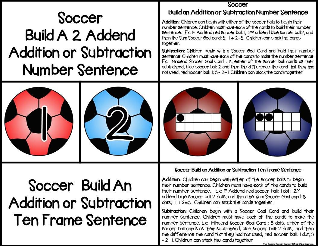 Soccer 2 Addend Addition Amp Subtraction 0 20 With Ten