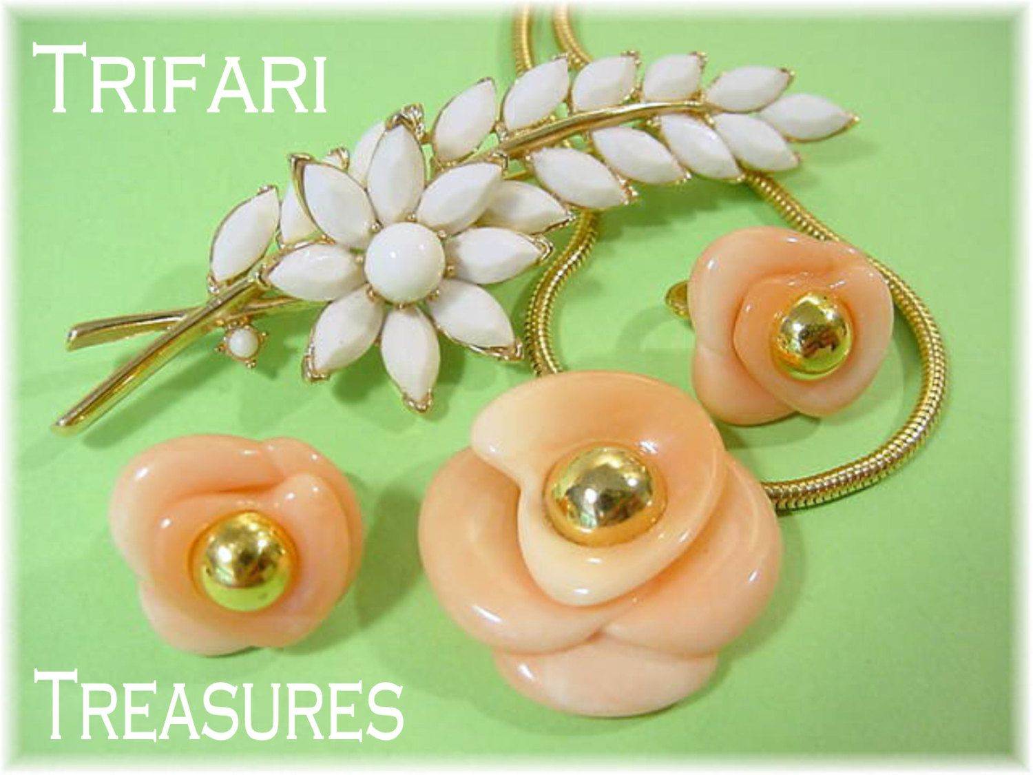 TRIFARI - White Rhinestone Floral Brooch Pin & Peach Rose Flower Necklace Earrings Set - Estate Antique Costume Jewelry - FREE SHIPPING