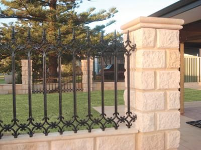 Wrought Iron Fence On Top Of Block Wall Google Search With