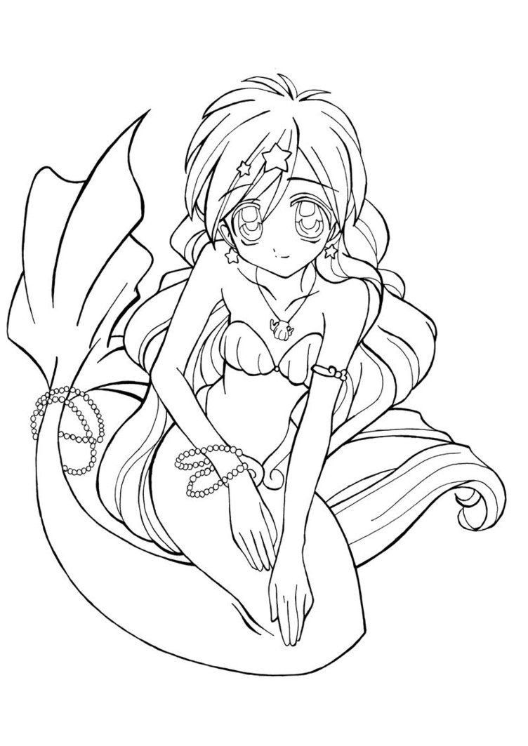 Anime Mermaid Coloring Page Youngandtae Com Libri Da Colorare Disegni Da Colorare Pagine Da Colorare Per Adulti