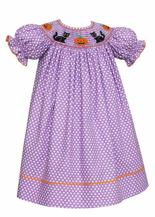 w Hand Smocking  Embroidered Jack o Lantern Candy Corn Vintage Smocked Dress Toddler Sz 4 Adorable Halloween School Picture Outfit