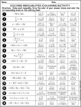 Solving Inequalities Differentiated Coloring Matematica Geometria Ensino Medio