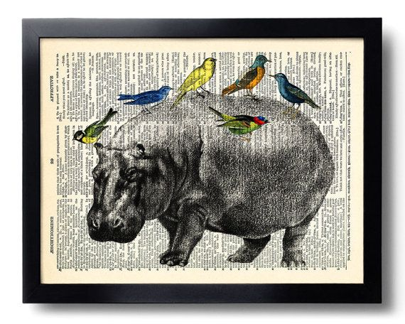 Goat Hipster Beard Print Vintage Dictionary Page Wall Art Picture Animal Glasses