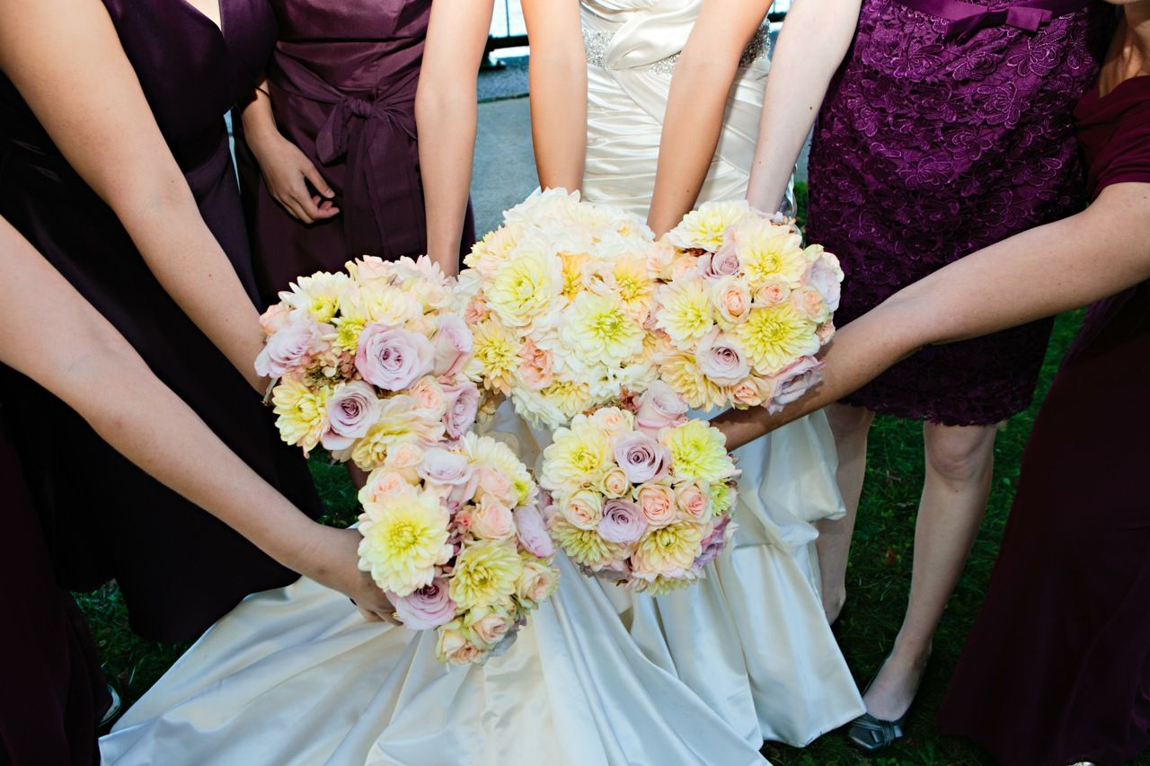 1940's style wedding bouquets  Yellow and Pink Spring Bridal Bouquet by Jeri Solomon Floral Design