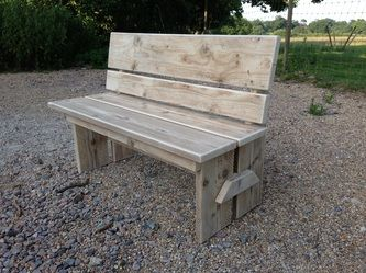 Chunky Garden Kitchen Bench Made From Scaffold Planks