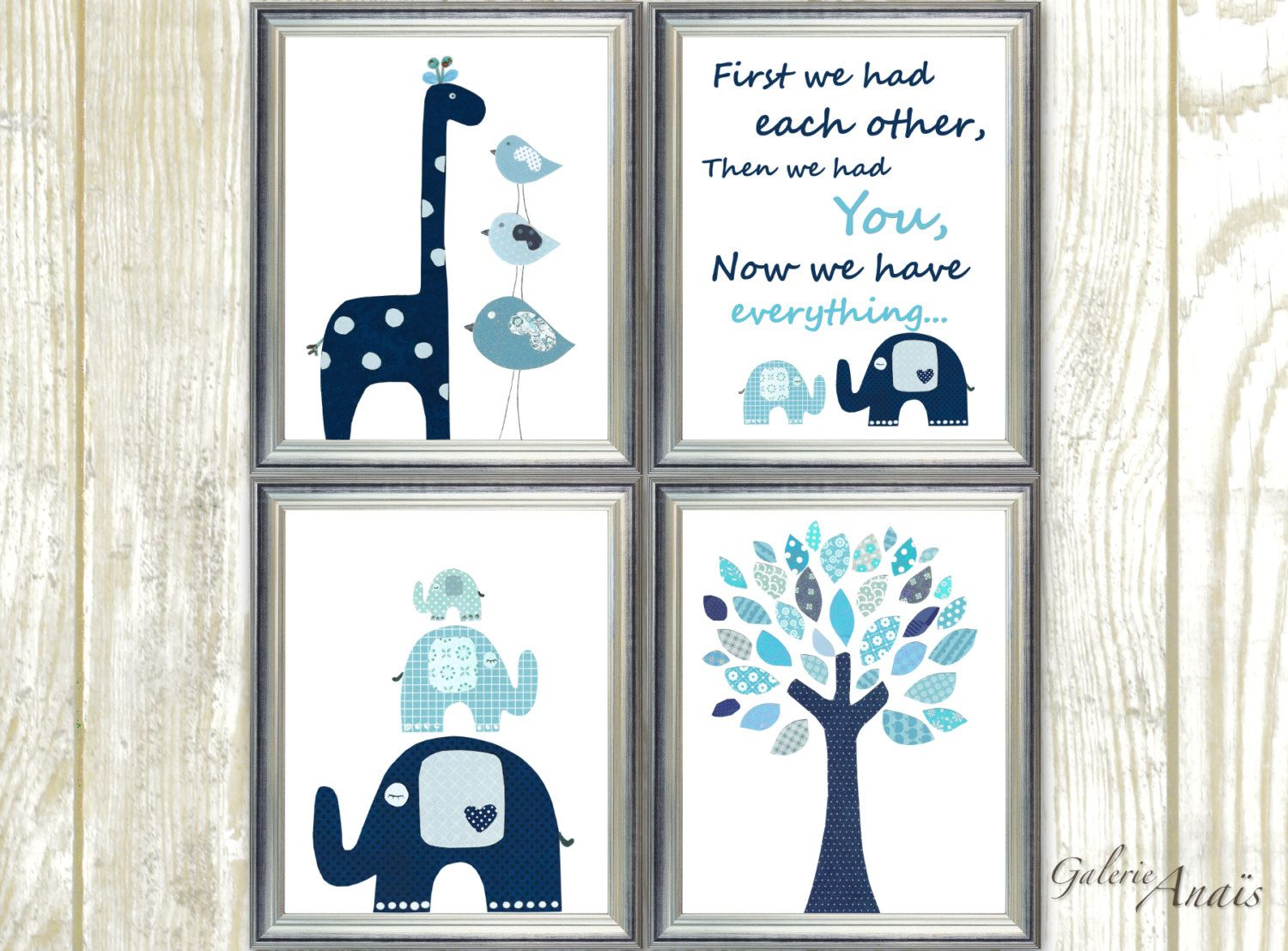 Navy blue aqua Nursery wall art kids room baby nursery children art ...