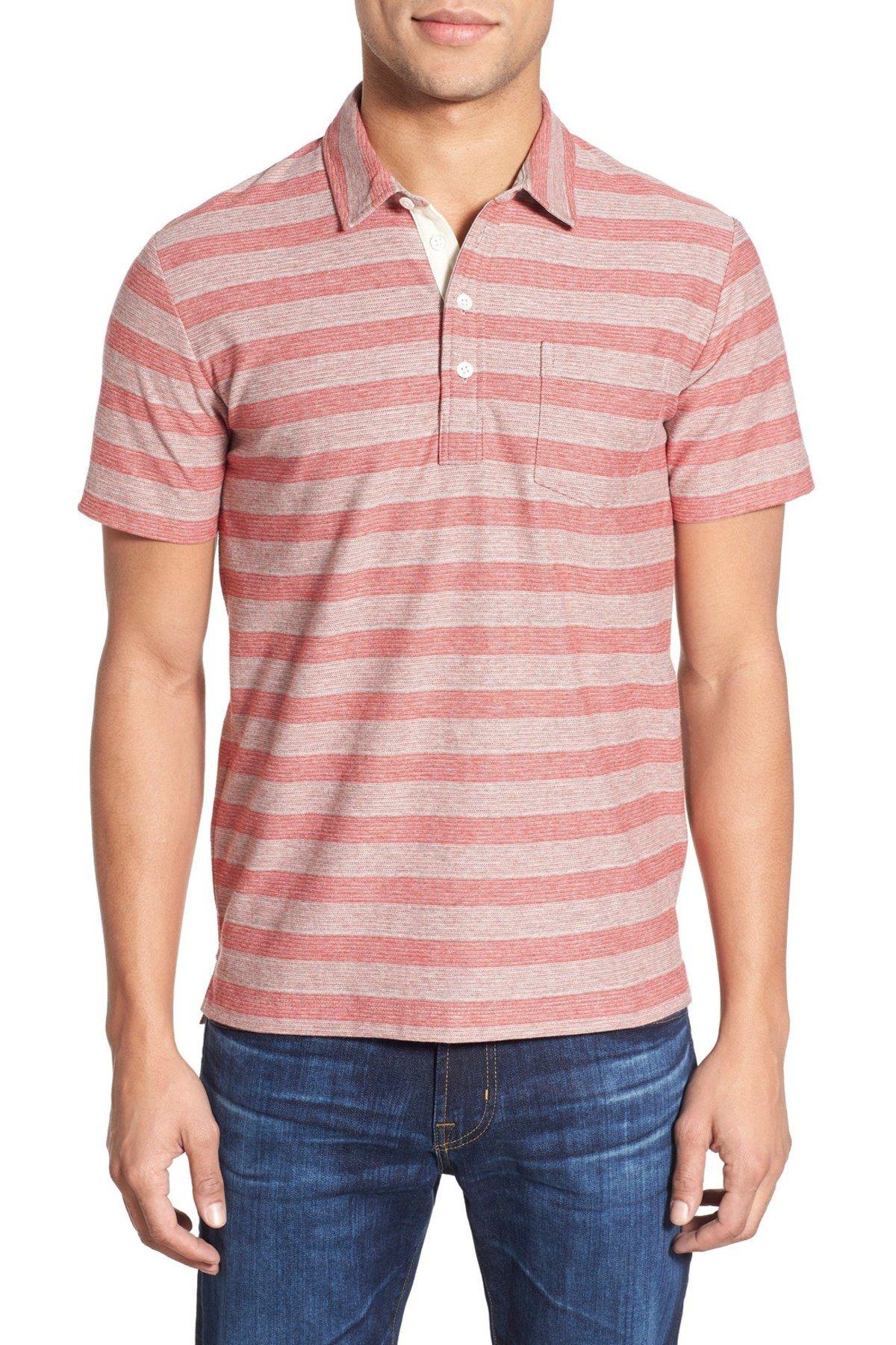 'Pensacola' Trim Fit Stripe Jersey Polo