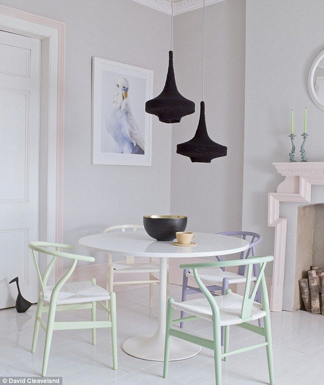 LOVE this pastel room! The trim / skirting around the fireplace is Stark Paint Coral II.