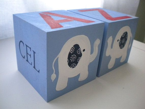 Bookends for Children SWEET ELEPHANTS Theme by GypsyLaneDesigns, $29.50