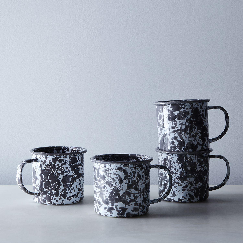 Enamel mugs set of 4 mugs set mugs enamelware
