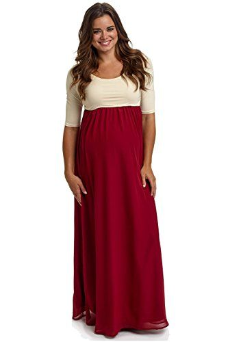 9998edd20cdf PinkBlush Maternity Burgundy Chiffon Colorblock Maxi Dress Large ...