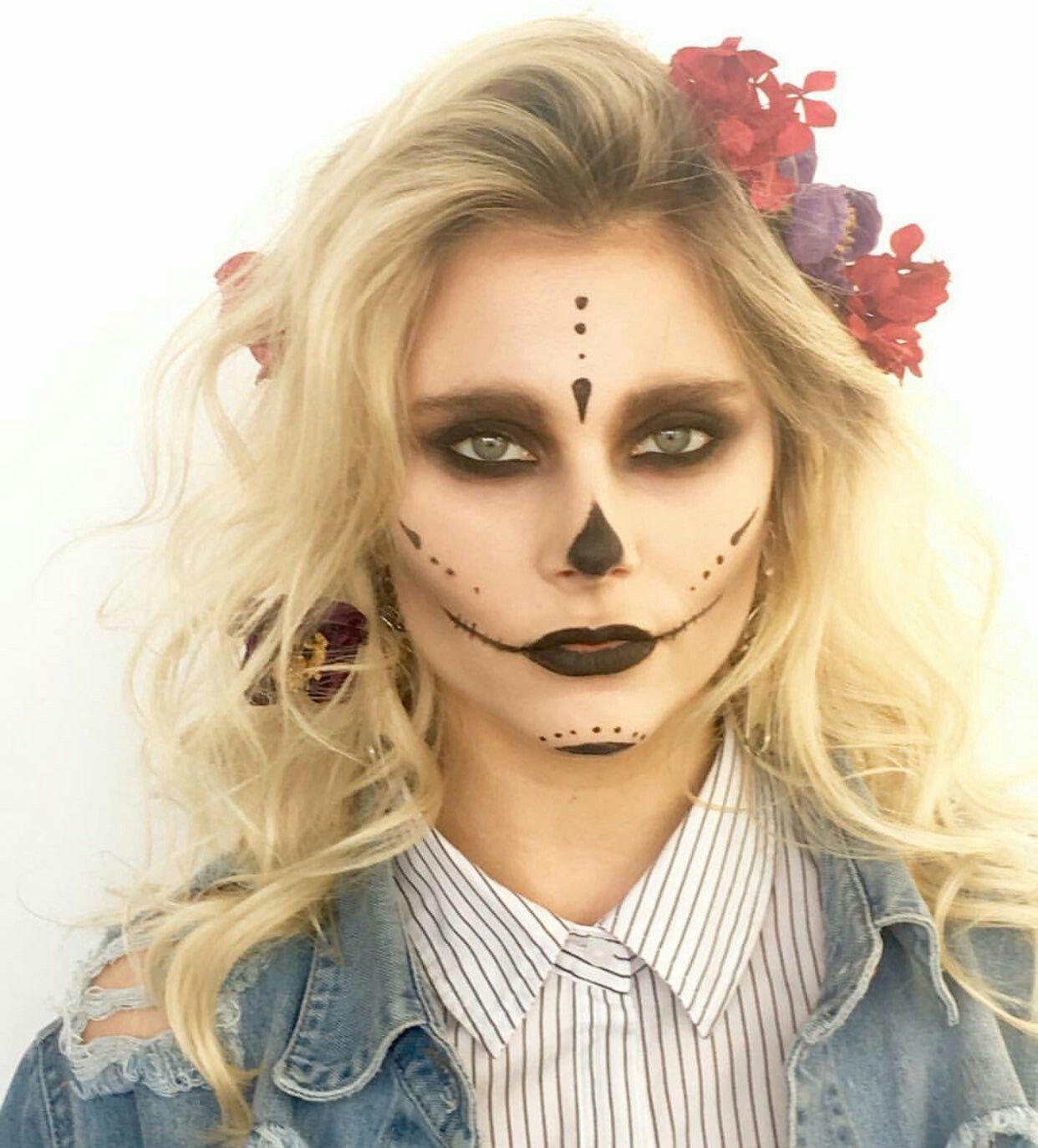 Muito Top Essa Make Do Dia De Los Muertos Maquillaje Día De Los Muertos Maquillaje De Calavera Mujer Maquillaje De Calavera