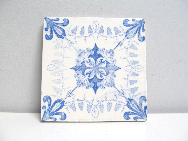 Vintage ceramic tile trivet kitchen tile fireplace handpainted vintage ceramic tile trivet kitchen tile fireplace handpainted delft blue floral swirl dailygadgetfo Images