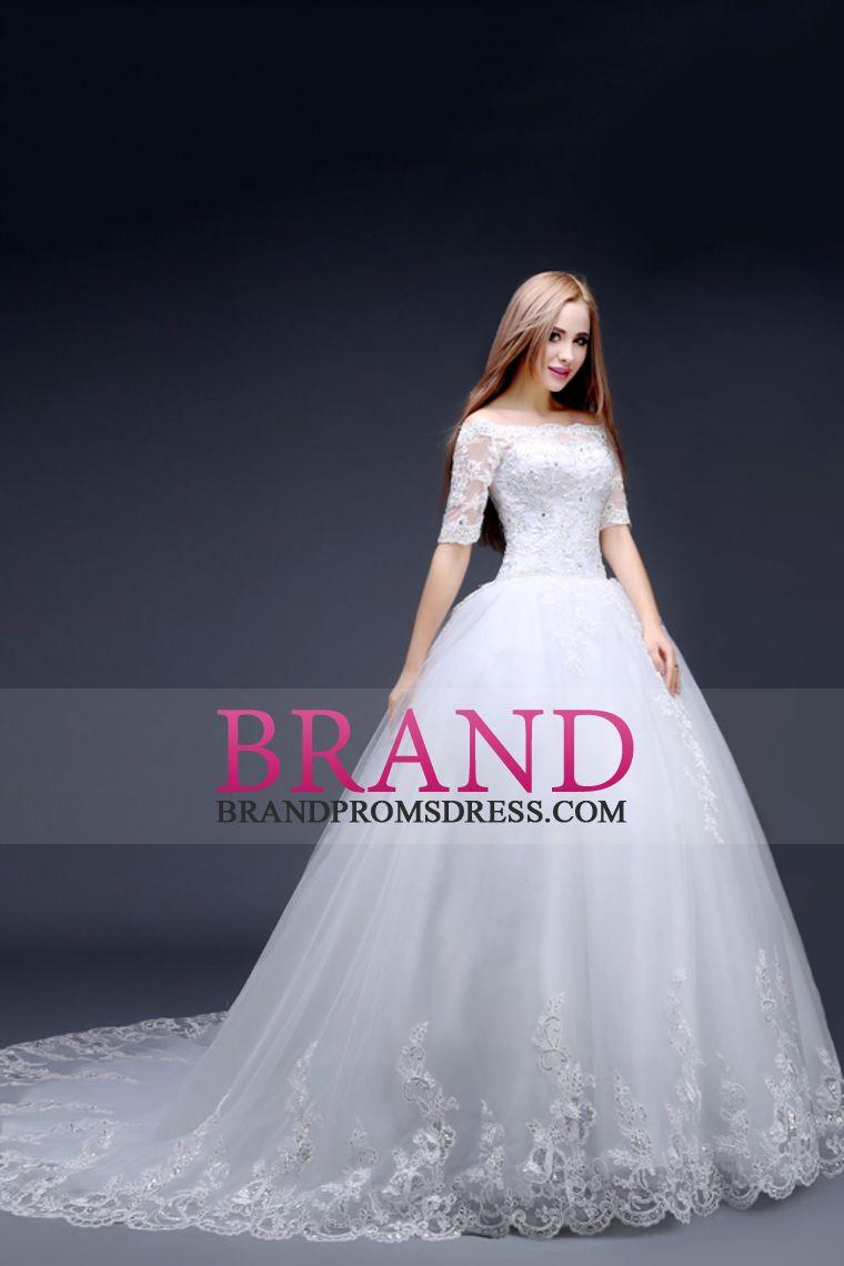 2016 vestidos de una línea de boda del cuello del barco media manga ...