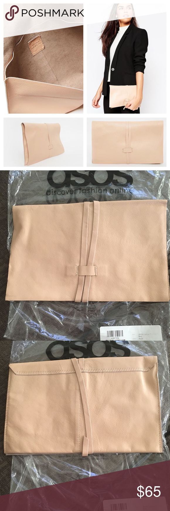 ASOS LEATHER TIE CLUTCH BAG IN NUDE Brand new comes with original bag with tag outside plastic bag. ASOS Leather tie clutch bag in nude. Perfect to wear with any ensemble. ASOS Bags Clutches & Wristlets