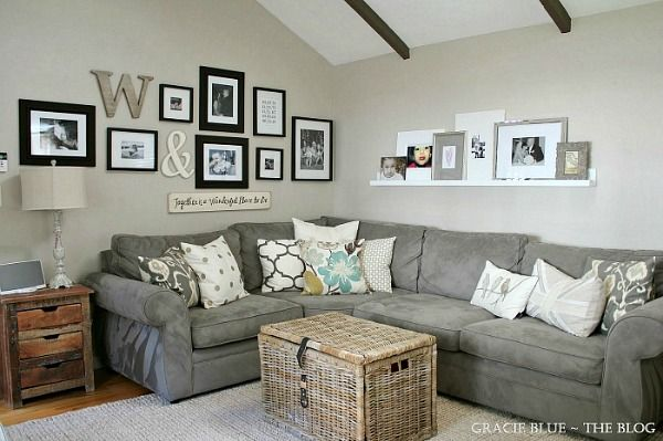 Walls Above Sectional Farm House Living Room Living Room Remodel Living Room Grey