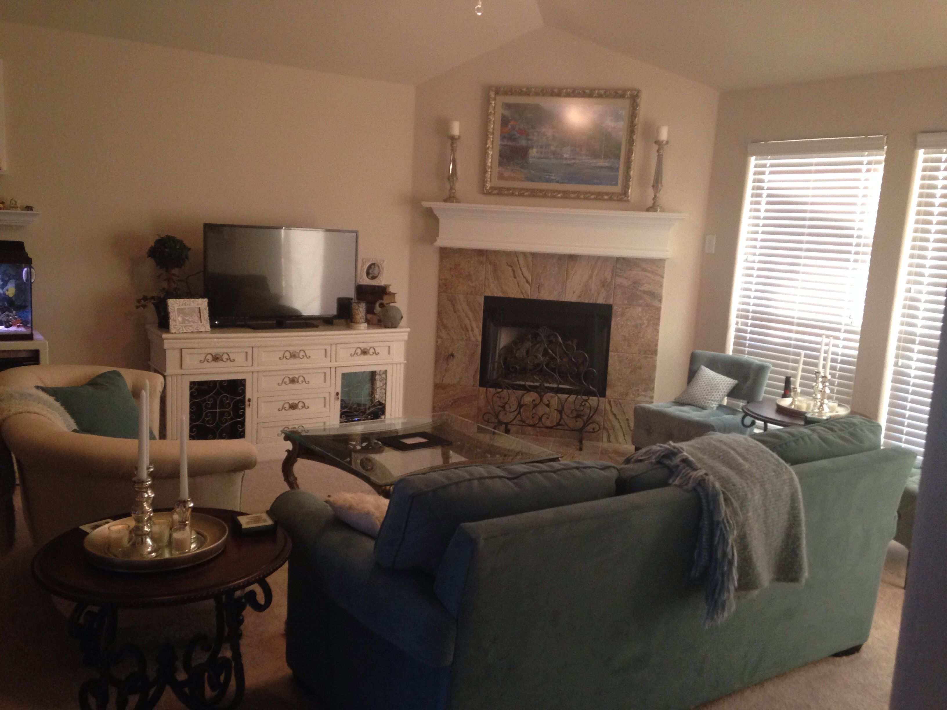 Living Room Couch And Loveseat Layout Cheap Furniture Stores Love This Corner Fireplace Especially With The Mismatched Exactly What I Want Wish Knew Source