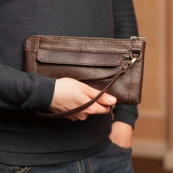 60daccce6d8 Brown leather wristlet wallet