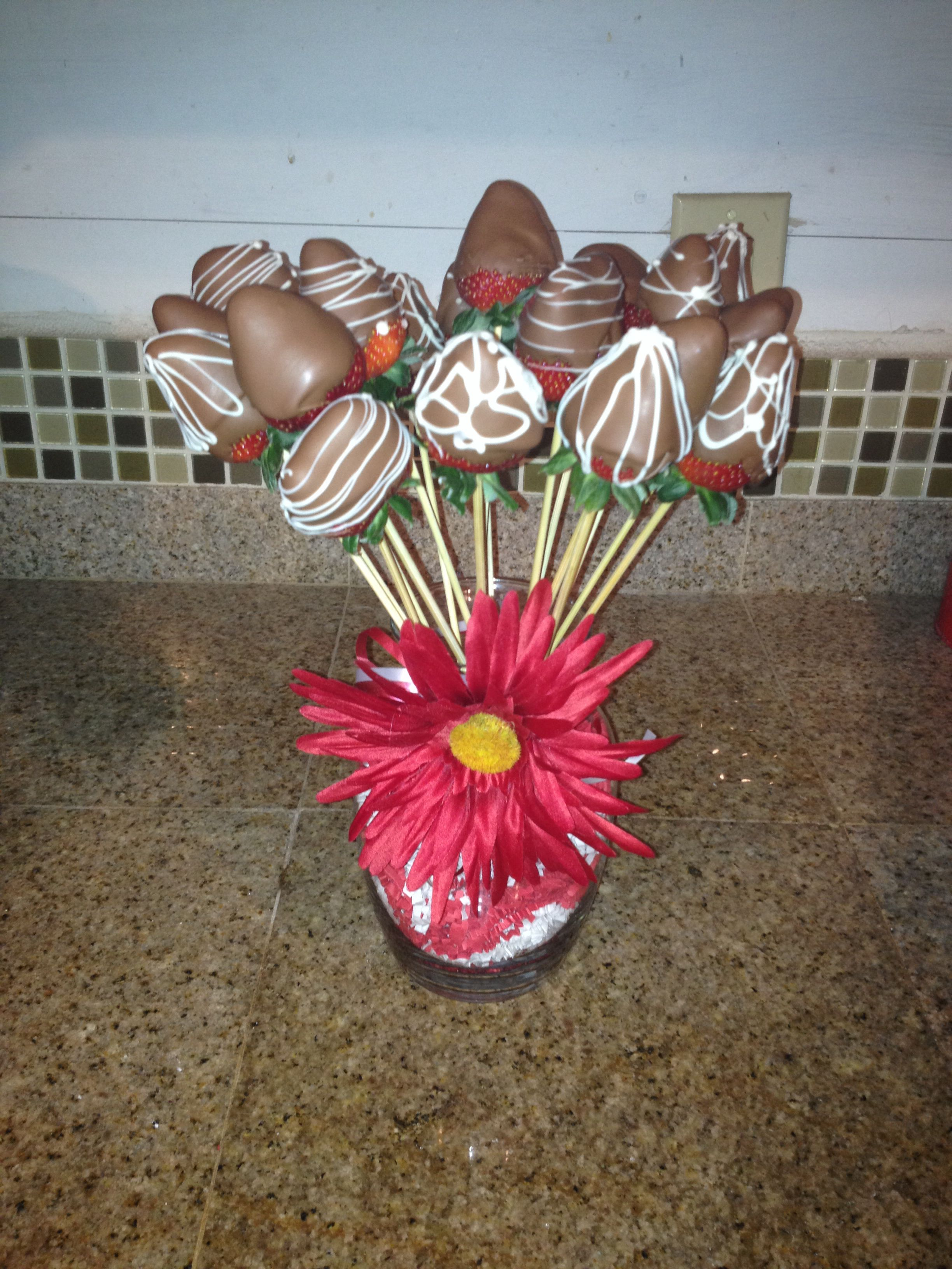 Chocolate Covered Strawberry Bouquet Desserts Pinterest